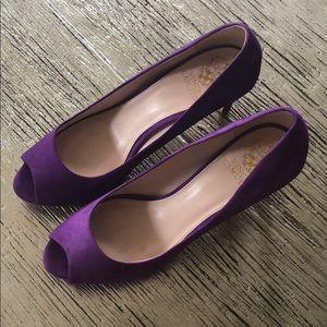 Purple Vince Camuto peep toe heels